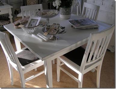 Fyrkantigt bord och stolar uppifrån
