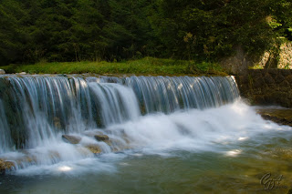 Cold waterfall in autumn