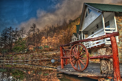 HDR image - Late-autumn hut in the middle of the nature