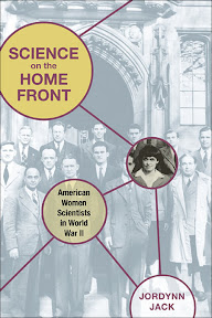 Front cover of Science on the Home Front, which features Leona Woods Marshall standing with the group of male scientists who formed part of the University of Chicago's Fermi Lab during World War II.
