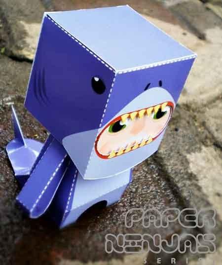 Shark Paper Toy : Shark ninja paper toy paperkraft free papercraft
