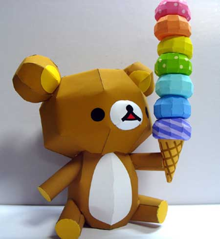 Rilakkuma Relax Bear Ice Cream Papercraft