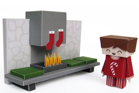 Xmas 2010 Papercraft Cozy Fireplace