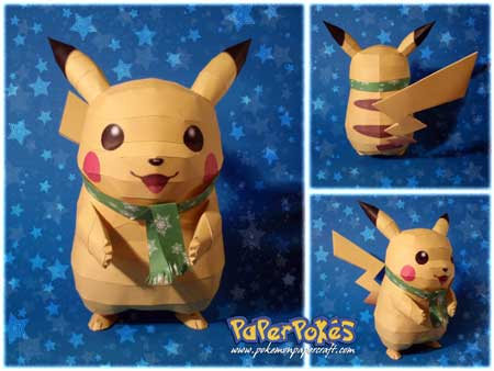 Winter Pikachu Papercraft