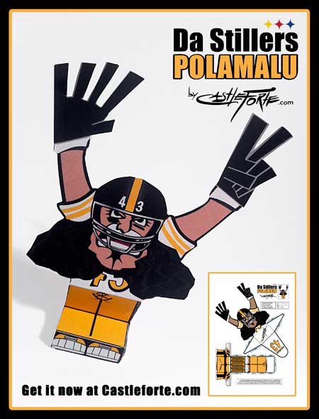 Super Bowl XLV Da Stillers Polamalu Paper Toy