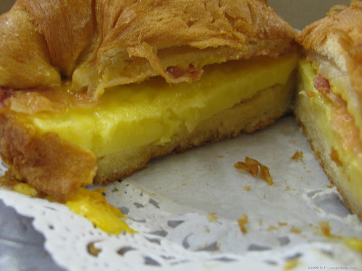 Cross-section of breakfast croissant