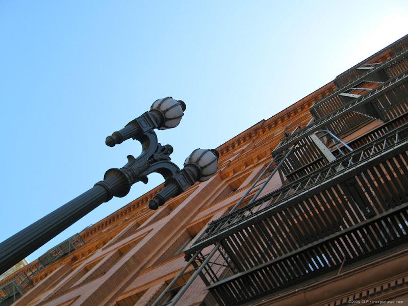 Lamppost and Bradbury Building escape