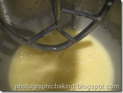 Eggs mixed into the oil and sugar mixture