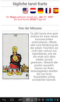 Screenshot of tägliche tarot Karte
