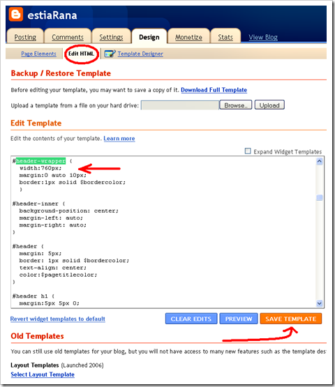 merubah ukuran header template minima