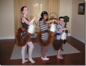 Three fox tails