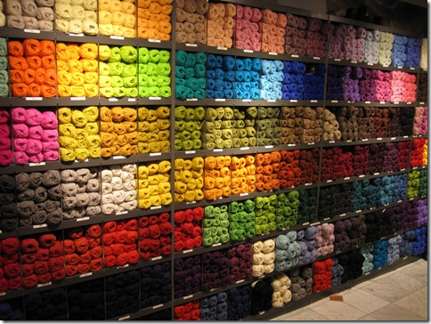Norwegian yarn store.  Look at all the pretty colors.