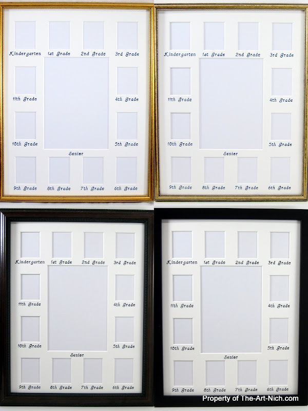 11x14 Collage White Picture Mat School Years Picture Frame
