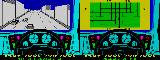 Turbo Esprit - in-game (left) and city map (right)