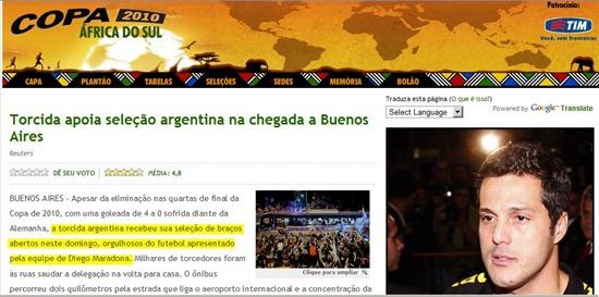 Nota del Oglobo sobre llegada de argentina