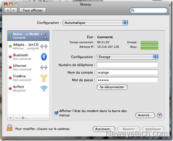 Interface réseau mac os x