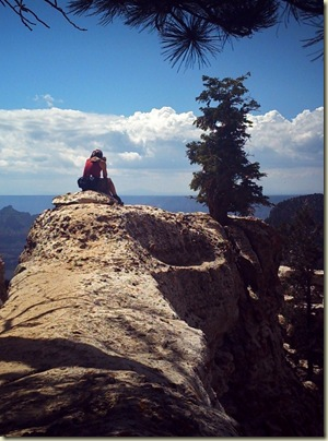 07 Gaelyn on rock outcrop off Transept trail NR GRCA NP AZ by Mike (759x1024)