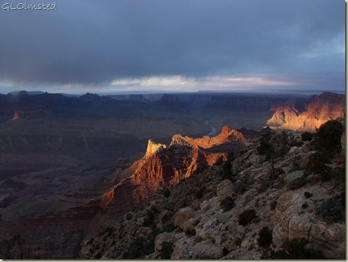 Last light on canyon walls & Co River Lippan Point South Rim Grand Canyon National Park Arizona