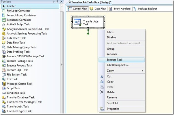 SSIS Transfer jobs Task Editor Execute