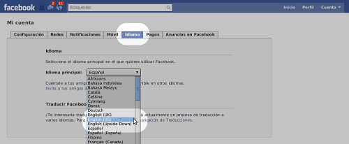 facebook language