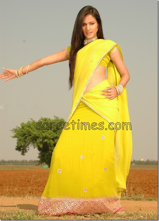 sonalchauhan-Yellow-Half-Saree