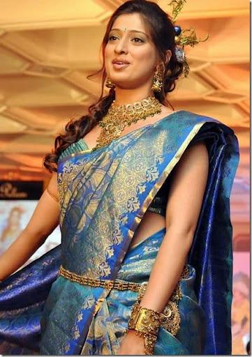 South Indian actress Lakshmi Rai in beautiful kancheepuram silk wedding sari