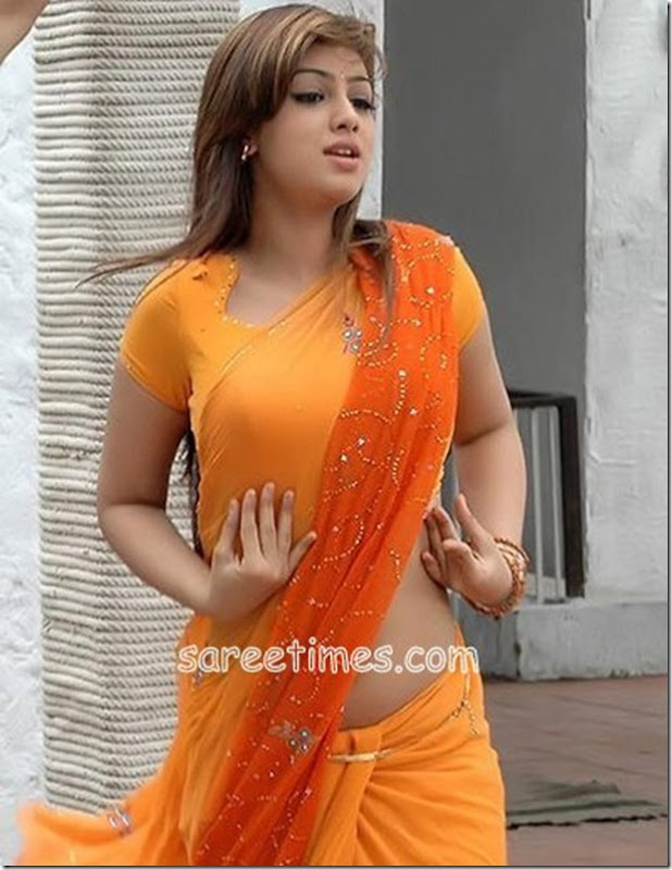 Ayesha-Takiya-Orange-Saree