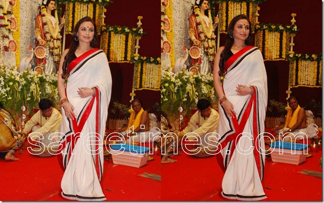 Rani-Mukherjee-White-Sari-Durga-Pooja