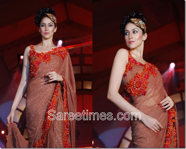 Rohit_Verma_Brown_Designer_Saree