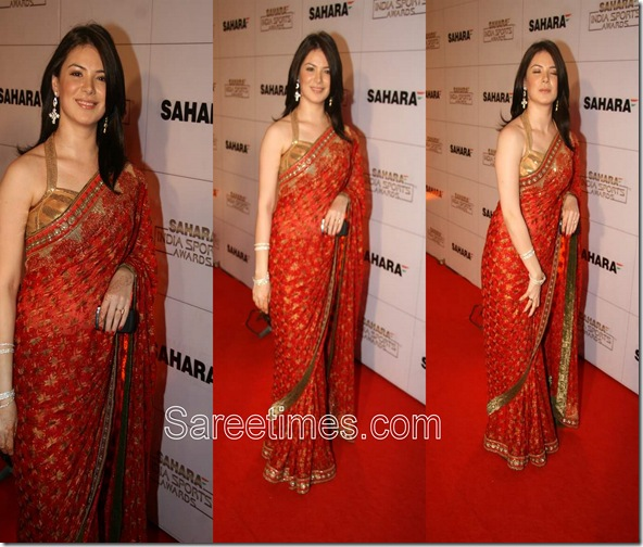 Urvashi Sharma_Red_Embroidery_Saree
