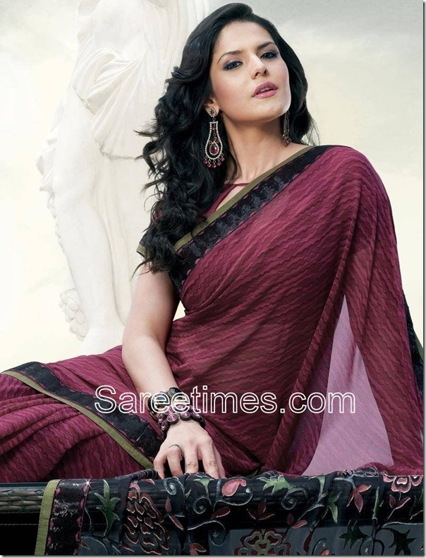 Zarine_Khan_Purple_Designer_Saree