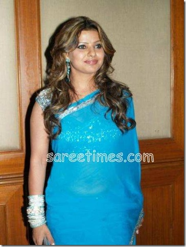 Madhu-Sharma-Blue-saree