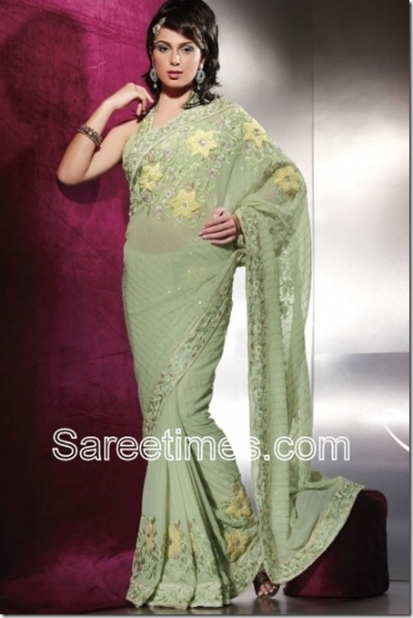 Moss-Green-Embroidered-Indian-Saree