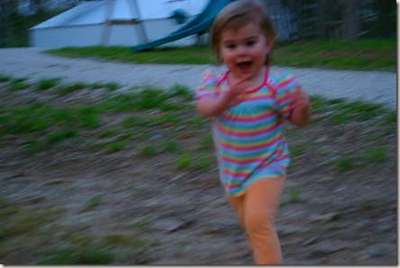 Blurry picture of Reagan running