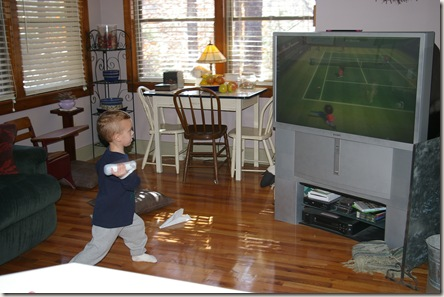 Austin playing Wii sports