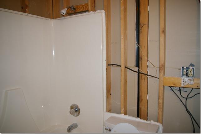 gutted bathroom initerior