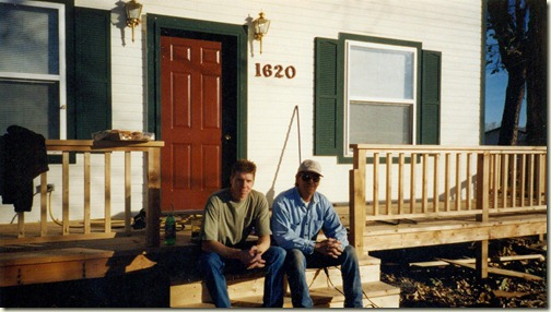 Cory and Arney taking a break on the new porch 001