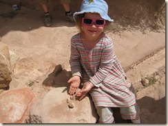 Lillian showing us the rocks that the Bedouin lady gave her.