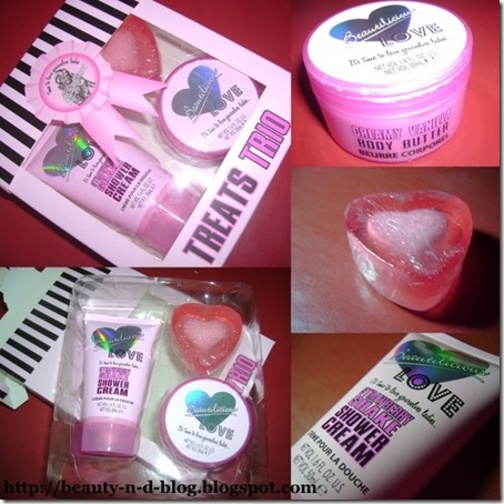 Beautilicious Treats Trio-Strawberry Shower Cream-Vanilla Body Butter-Heart Soap