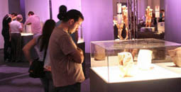 Image shows man looking into glass case at indistinct exhibit
