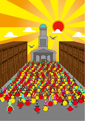 Cartoon image of lots of people on Space Hoppers on Mount St, Dublin