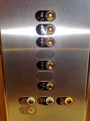 photo of buttons in the office elevator; there's a button for floors -2, 0, 2, 3 and 4 but no -1 or 1