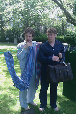 Mark and Chenoah - the Pajama Men - standing in St Stephen's Green wearing Pajamas, posting for the camera