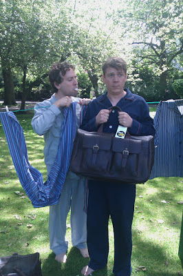 Both Pajama Men, in Pajamas in St Stephens Green, Dublin, posing for the camera.