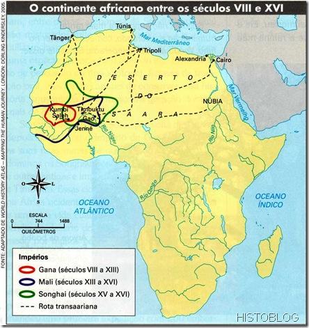 mapa O continente africano séculos VIII e XVI