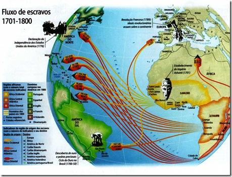 mapa fluxo escravo século XVIII