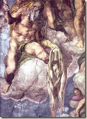 São Bartolomeu, mártir, queimado vivo. detalhe de o Juízo Final