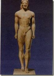 Kouros. Estátua em mármore (Período Arcaico, 530-520 a. C)