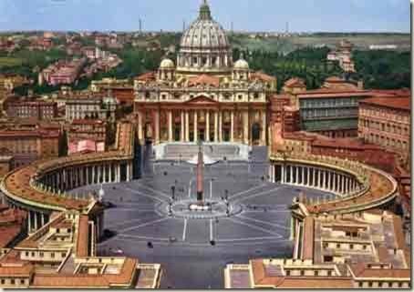 Vista da praça das Basílica de São Pedro, Vaticano, Roma