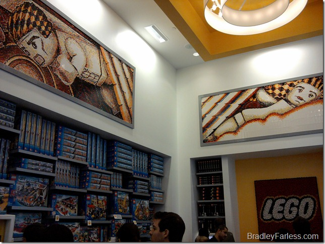 LEGO mosaics on the walls of the store.
